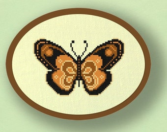 Brown Butterfly. Cross Stitch PDF Pattern
