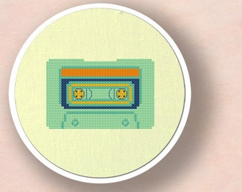 Mint Cassette Tape. Modern Simple Cute Counted Cross Stitch PDF Pattern. Instant Download