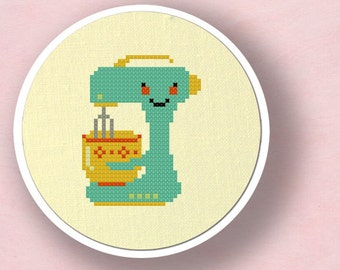 Cute Teal Stand Mixer. Kitchen Appliance. Modern Simple Cute Counted Cross Stitch Pattern PDF File. Instant Download