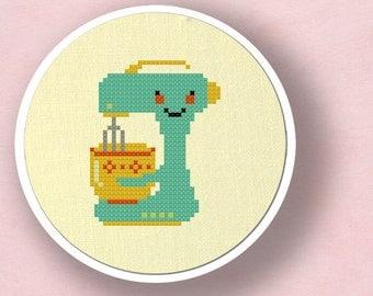 Cute Teal Stand Mixer. Cross Stitch Pattern PDF File