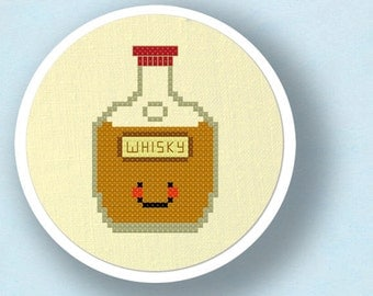 Happy Whisky Bottle. Modern Simple Cute Cross Stitch Pattern PDF File. Instant Download