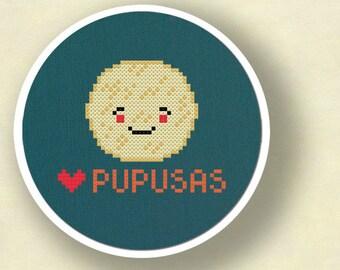 I Heart Pupusas. Salvadoran Food Modern Simple Cute Counted Cross Stitch PDF Pattern. Instant Download