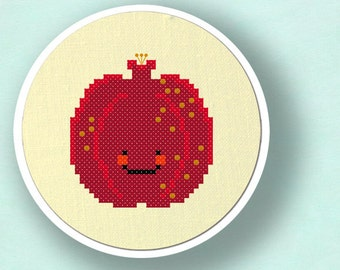 Happy Pomegranate Fruit Cross Stitch PDF Pattern Instant Download