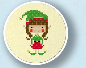 Happy Christmas Elf Girl. Holiday Modern Simple Cute Counted Cross Stitch Pattern PDF File. Instant Download