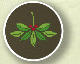Pretty Mistletoe. Christmas Modern Simple Cute Counted Cross Stitch PDF Pattern. Instant Download