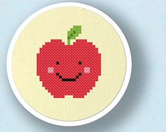 Happy Red Apple. Cross Stitch Pattern. PDF File