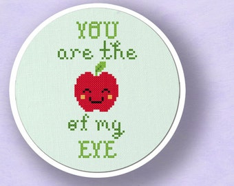 You Are the Apple of my Eye. Cross Stitch PDF Pattern Instant Download