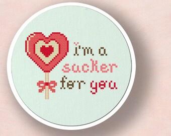 I'm a Sucker for You. Heart Lollipop Cross Stitch PDF Pattern