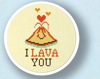 I Lava You - Cute Erupting Heart Volcano Pun Modern Simple Cute Counted Cross Stitch PDF Pattern Instant Download