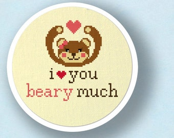I Love You Beary Much. Sweet Bear Love Pun Modern Simple Cute Counted Cross Stitch PDF Pattern. Instant Download