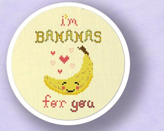 I'm BANANAS for You. Cute Fruit Pun Modern Simple Counted Cross Stitch PDF Pattern. Instant Download