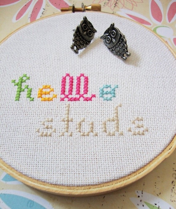 Hello Studs. Cross Stitched Stud Jewelry Display (Made to order)