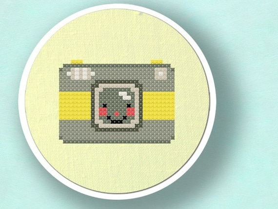Happy Camera. Cross Stitch PDF Pattern Instant Download