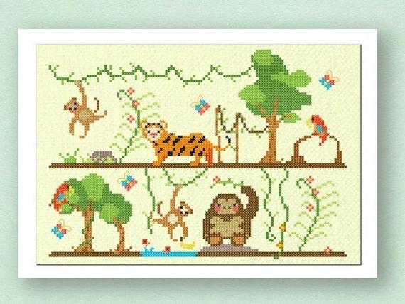 Jungle Fun. Large Cross Stitch PDF Pattern