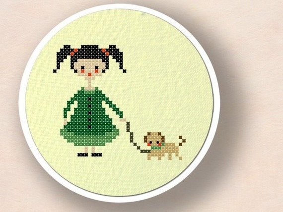 Girl with Puppy. Cross Stitch PDF Pattern