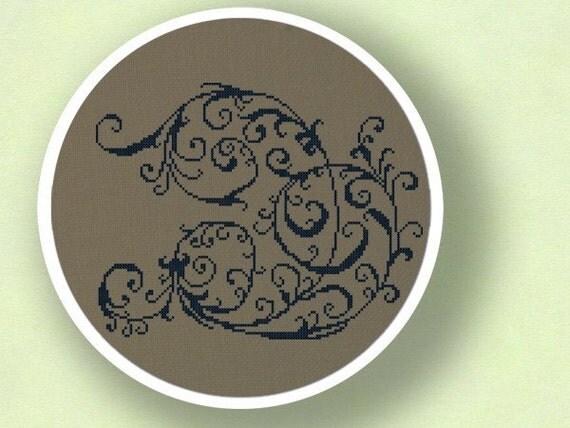 Elegant Decorative Scroll Cross Stitch Pattern. Modern Simple