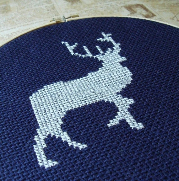 Deer Silhouette. Cross Stitch PDF Pattern Instant Download