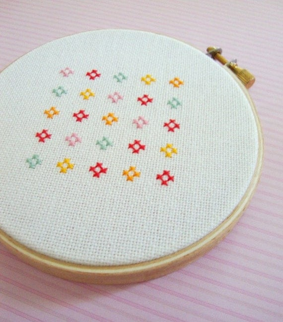 Cute and Colorful Flower. Cross Stitch PDF Pattern
