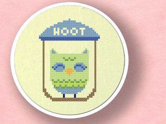 Hoot. Cute Owl Cross Stitch PDF Pattern