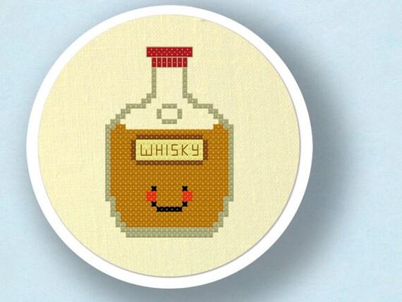 Happy Whisky Bottle. Cross Stitch Pattern PDF File