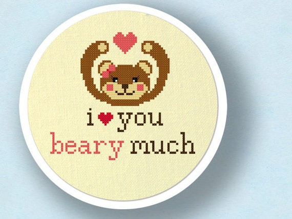 Love You Beary Much  Sweet Bear Love Pun Cross Stitch PDF PatternI Love You Puns