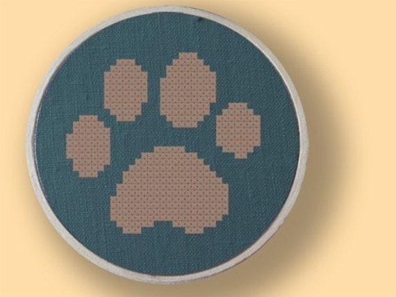 My furry pal. Paw Print Cross Stitch Pattern