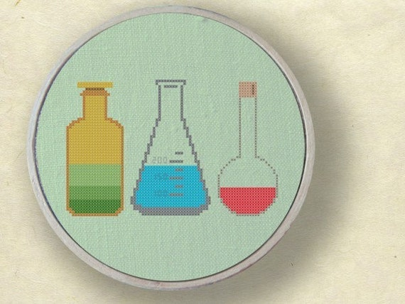 My science experiment. Set of three glass measurements Cross Stitch Pattern