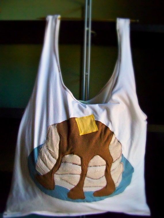 Rooty Tooty Fresh and Roomy Stack of Pancakes Tote Bag, made form recycled T-shirts.