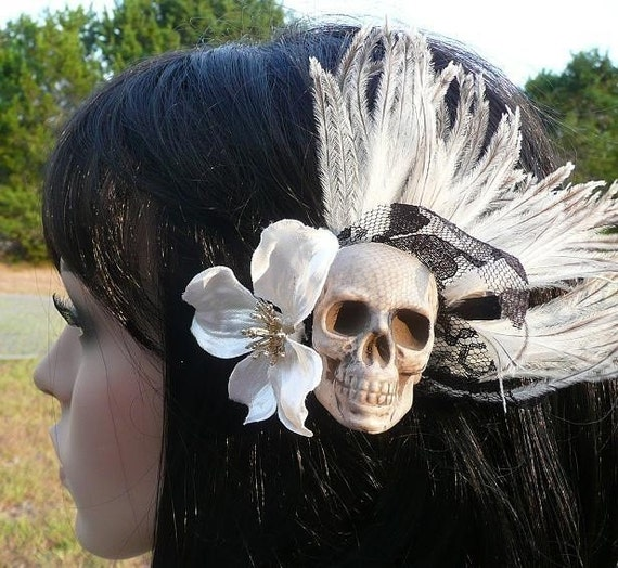 Day of the Dead Halloween Skull and BLACK LACE Hair Clip