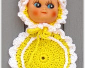 Doll Face Pot Holder Yellow and White