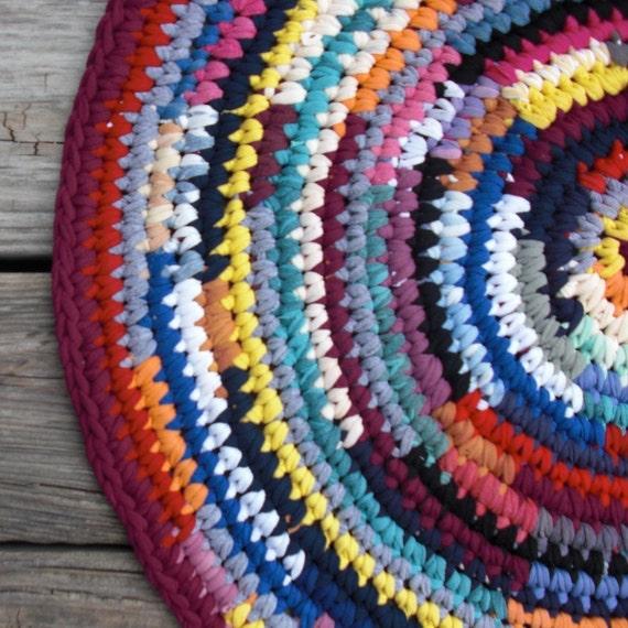 Round Rag Rug Multi Color 24 Inches
