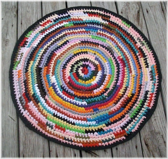 Round Rag Rug 32 Inches Handmade From Reclaimed T Shirts