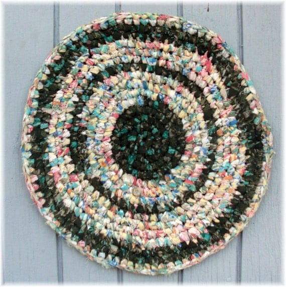 Round Rag Rug Table Trivet Coaster Hot Pad16 inches