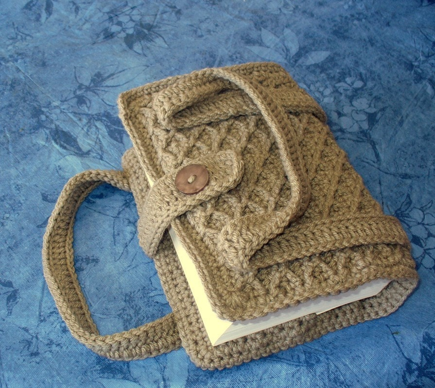 Crochet Bag Handle Cover Pattern : Crocheted Book / Bible Cover