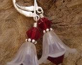 Red swarovski lucite flower power earrings