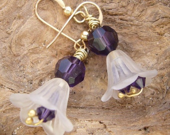 white frosted violet gold filed earrings