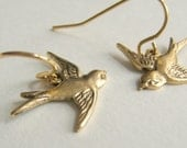 Birds Flying Sparrows Earrings Sweet gold dangles