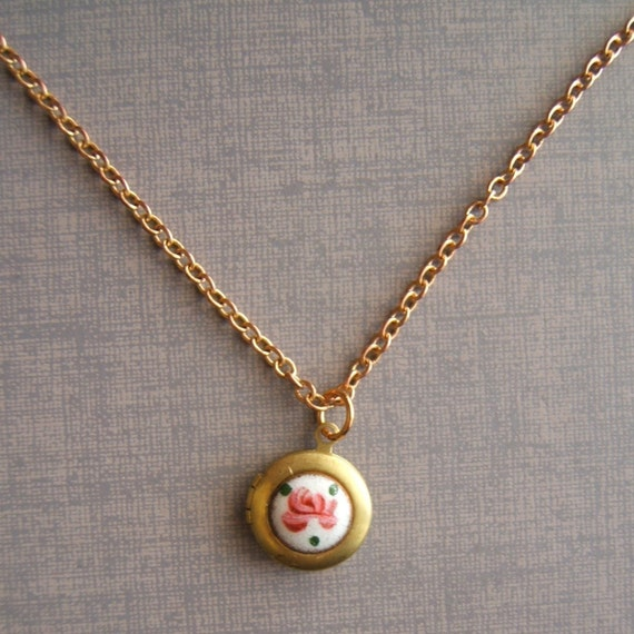 Locket Necklace Gold Brass Tiny Vintage enamel Guilloche Just Right for your Sweetheart