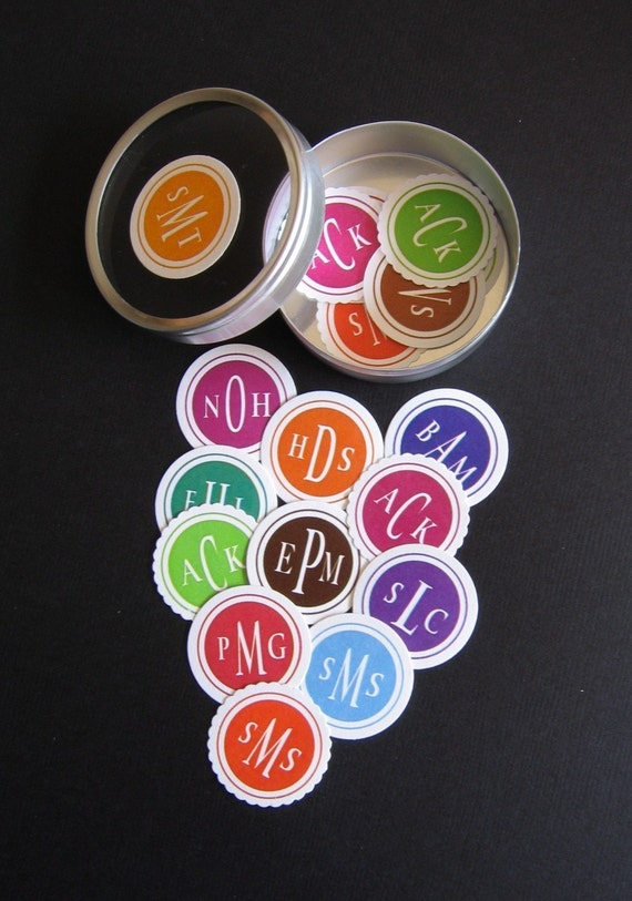 Pick A Color -  Custom Solid Color Wedding Monogram Sticker Labels for Invitations, Favors or Envelope Seals