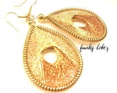 VEGAS SPARKLE...Gold Thread Woven Earrings by Funky Lobez