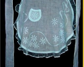 Vintage Edwardian Apron Parlormaid Silk Lined Ribbons