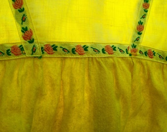 Vintage Baby Dress Wool Cotton Emb Ribbon yellow