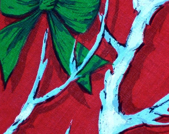 Vintage Mid Century Tablecloth Christmas BRANCHES BOWS