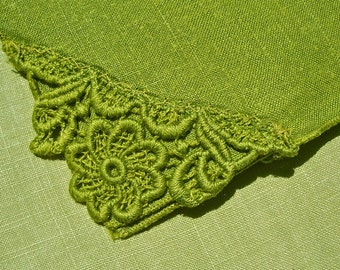 Vintage Crochet Lace Tablecloth Green St Patricks Day