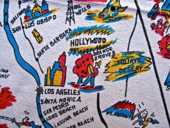 VINTAGE RARE Silent Hollywood Stars State Souvenir Tablecloth California