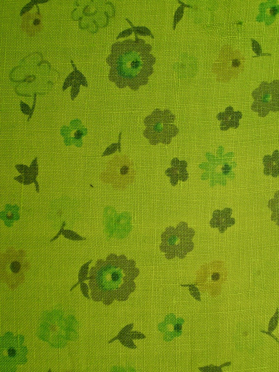 Vintage Mid Century Tablecloth Linen chartreuse posies