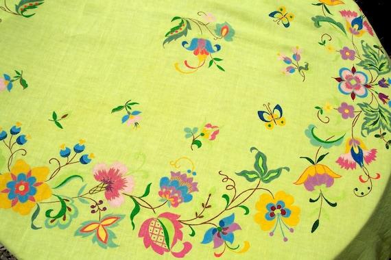 Vintage Arts & Crafts Tablecloth Linen Yellow BANQUET