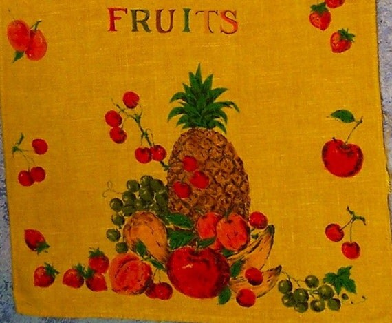 Vintage Mid Century Towel Linen Tropical Fruits Marigold SALE