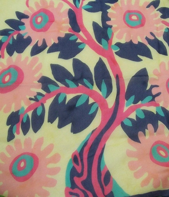 Vintage poly crepe CHIFFON scarf Arts Crafts TREE of LIFE