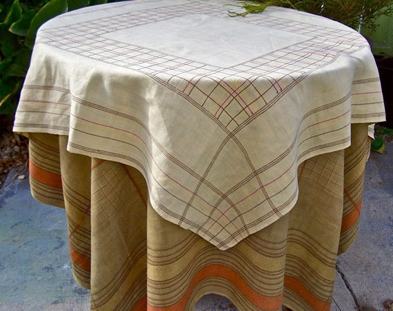 Vintage Tattersall Plaid Tablecloth SET of 2 Earth Tones